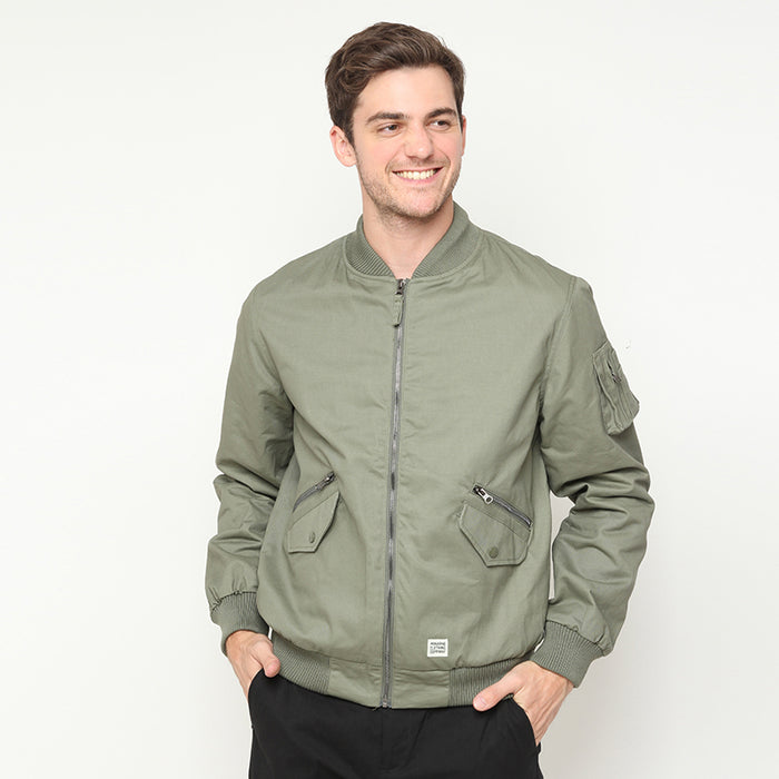 Canvas Bomber Jacket - Green