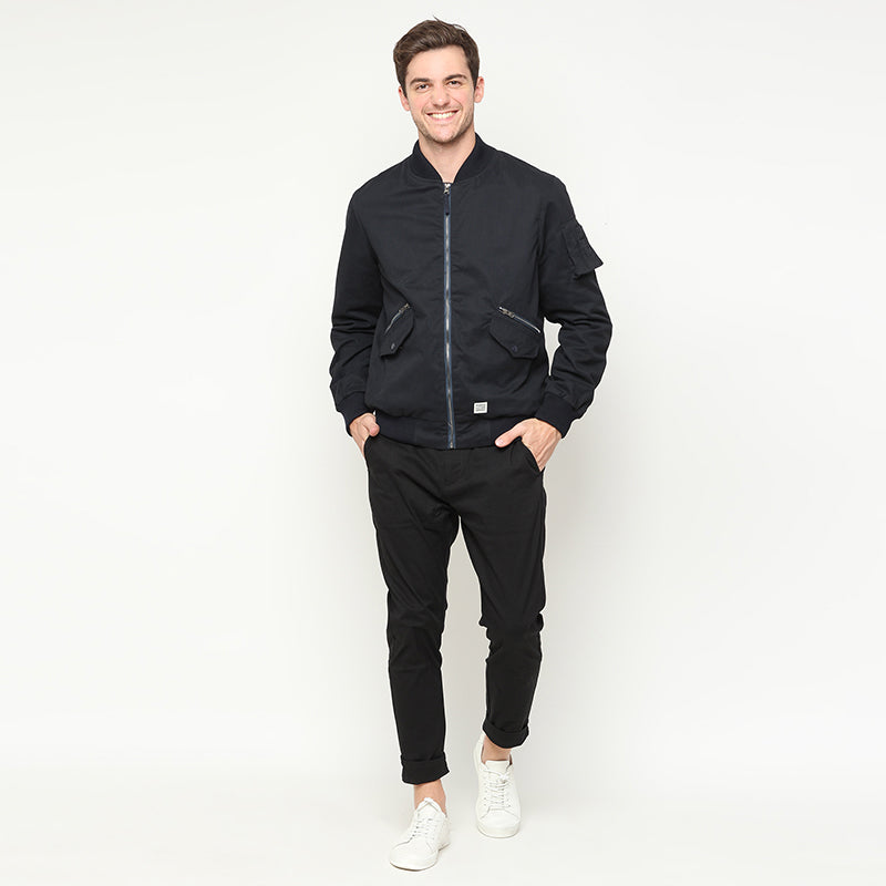 Canvas Bomber Jacket - Navy