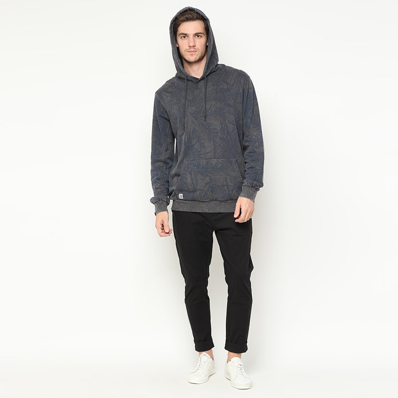 Leaf Washed Hoodies - Navy