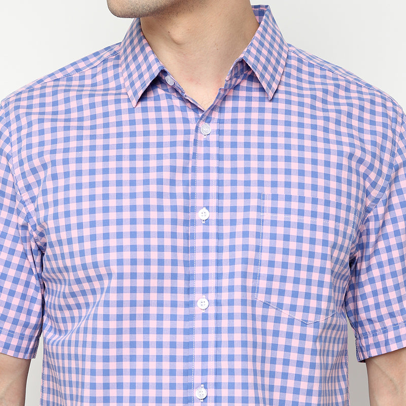 Gingham 01 S/S Shirt - Pink