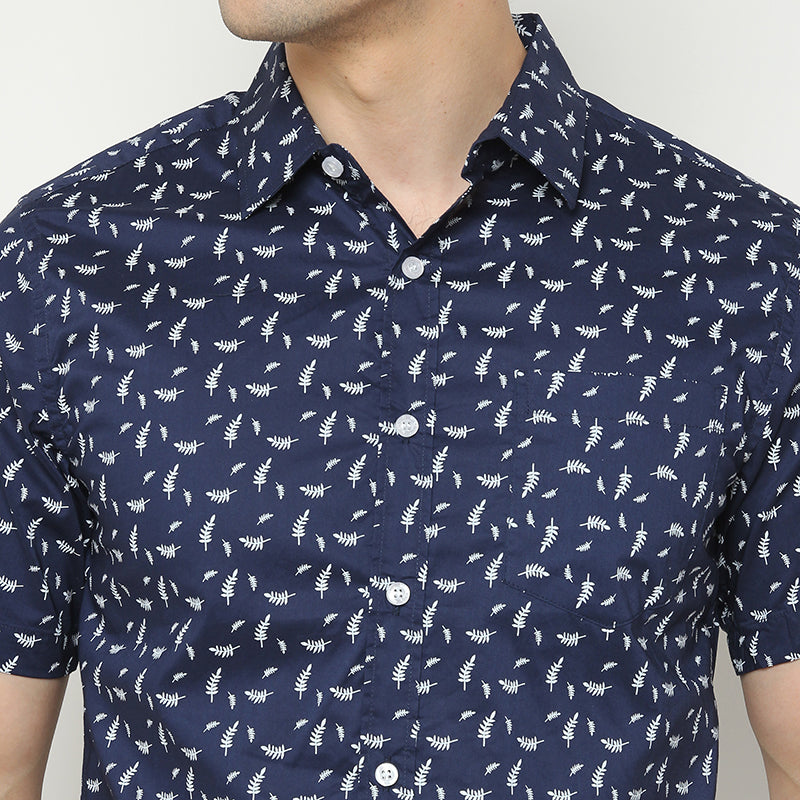 Leaf Print 006 S/S Shirt - Navy