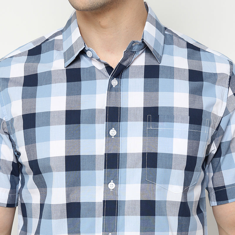 Check 01 S/S Shirt - Blue