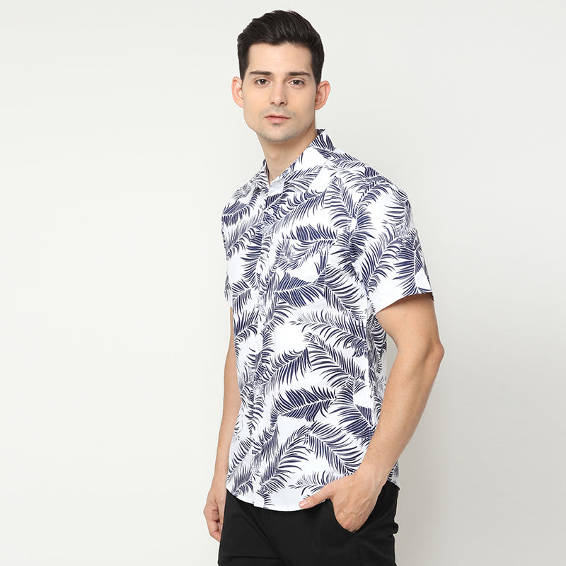Palm Leaf S/S Shirt - White