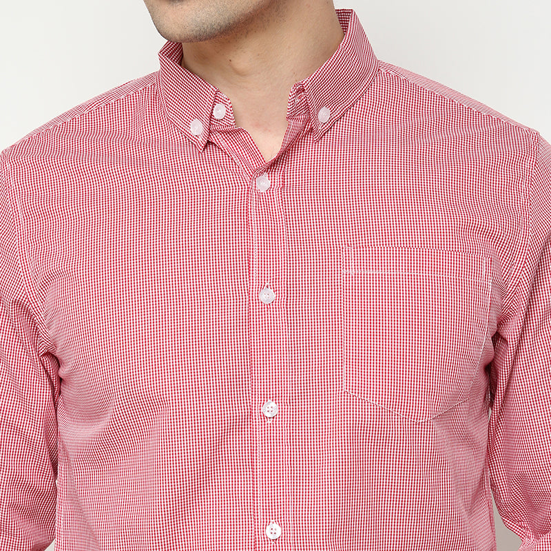 Gingham 015 L/S Shirt - Red