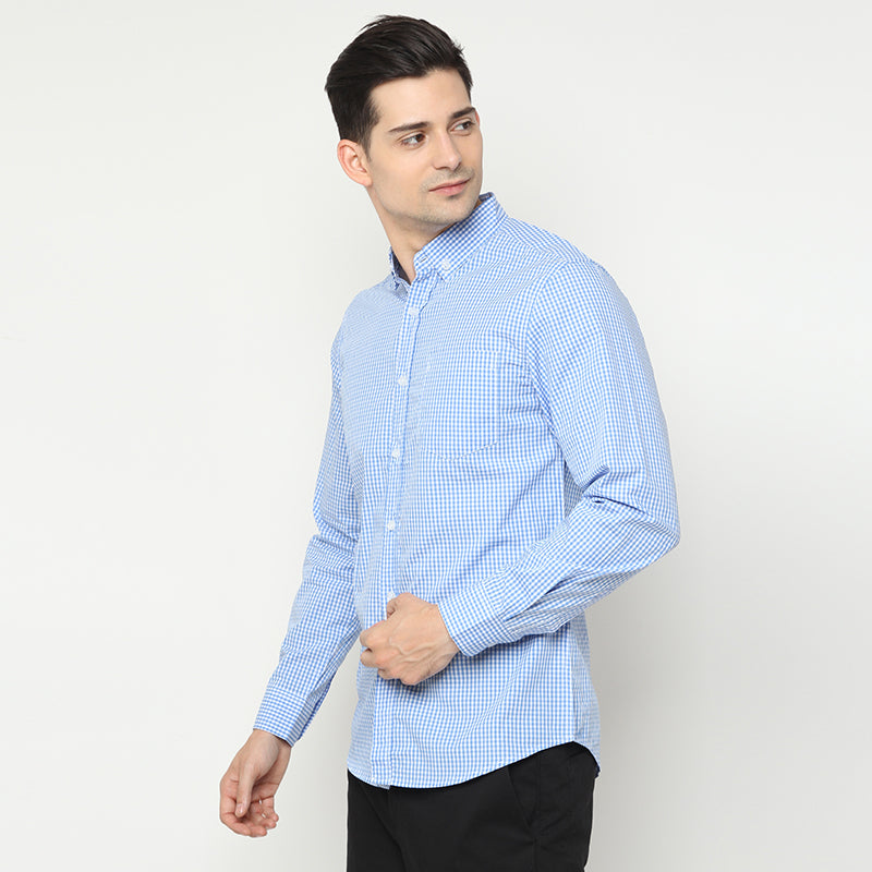 Gingham 016 L/S Shirt - Blue