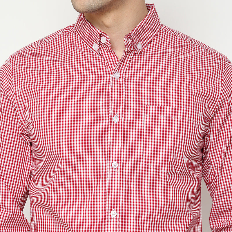 Gingham 016 L/S Shirt - Red
