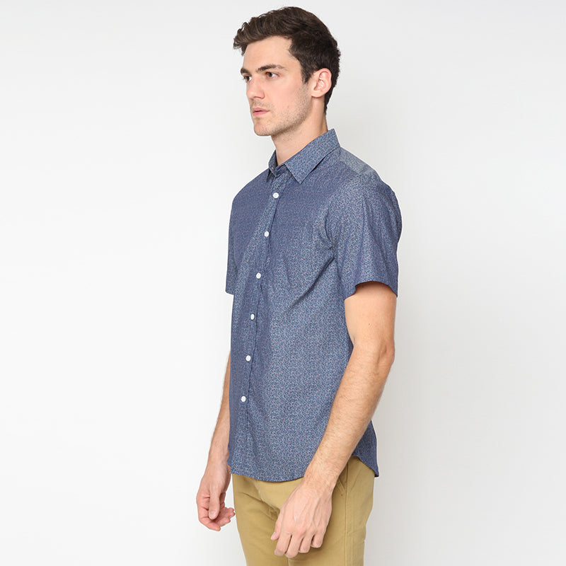 Leaf Print 007 S/S Shirt - Blue