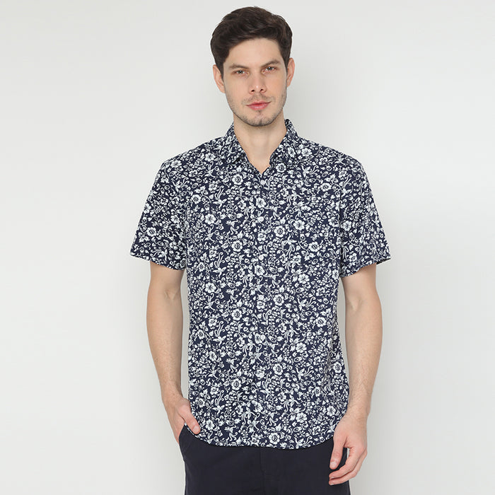 Floral Print 18 S/S Shirt - Navy