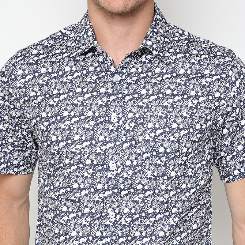 Floral Print 19 S/S Shirt - Navy