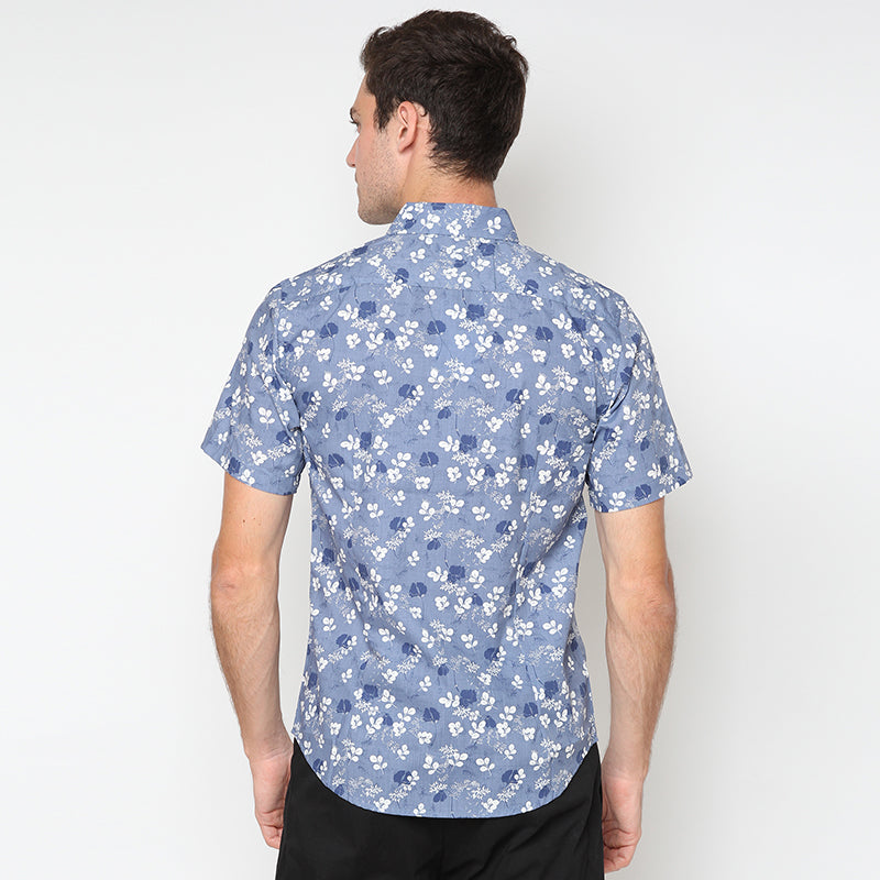 Leaf Print 008 S/S Shirt - Blue