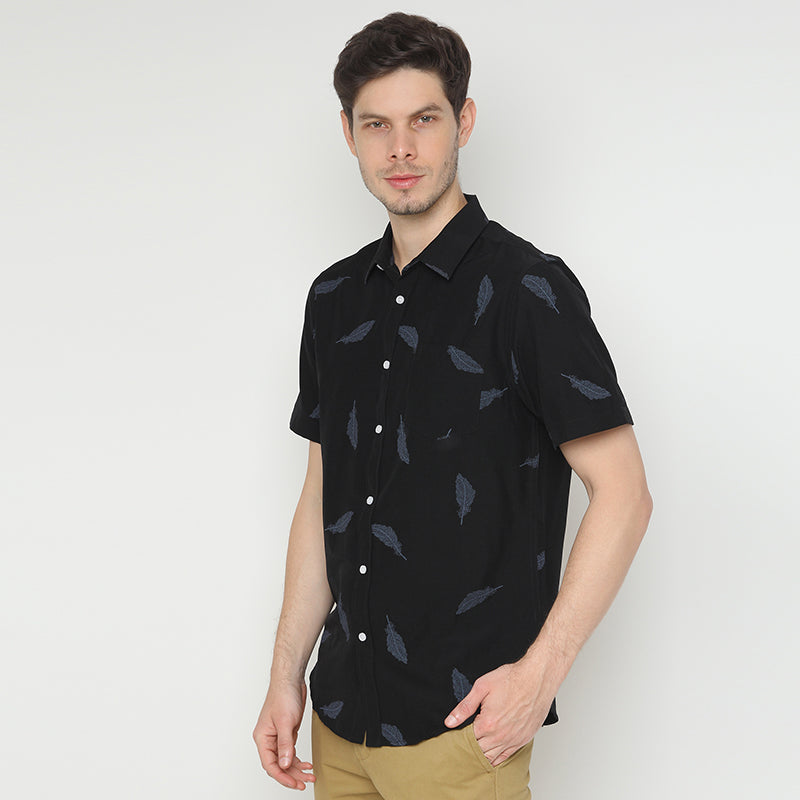 Leaf Print 009 S/S Shirt - Black