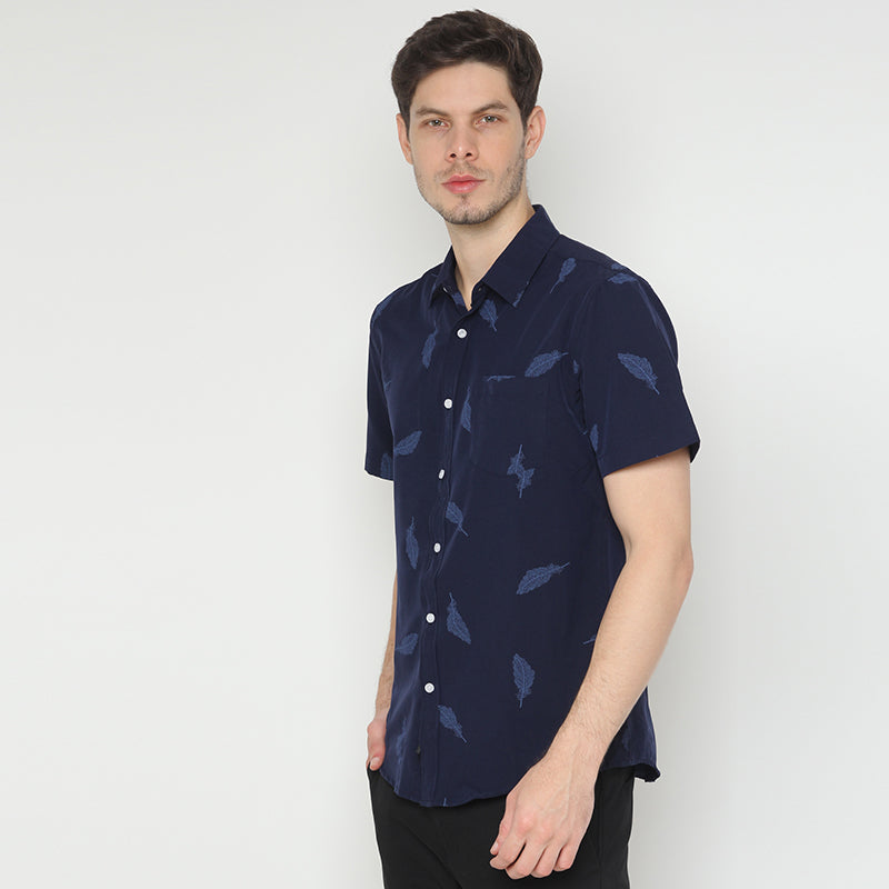 Leaf Print 009 S/S Shirt - Navy