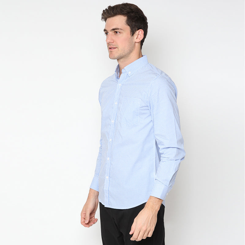 Gingham 017 L/S Shirt - Blue