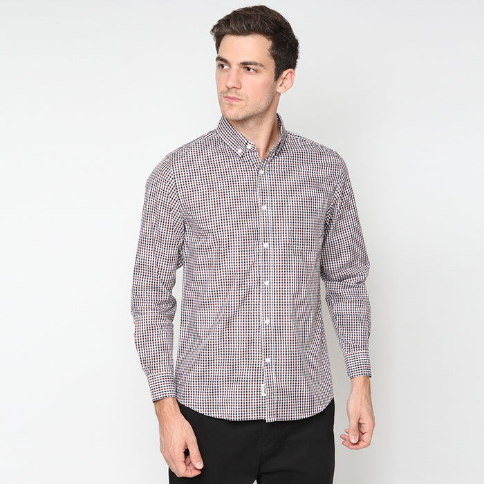 Gingham 018 L/S Shirt - Brown
