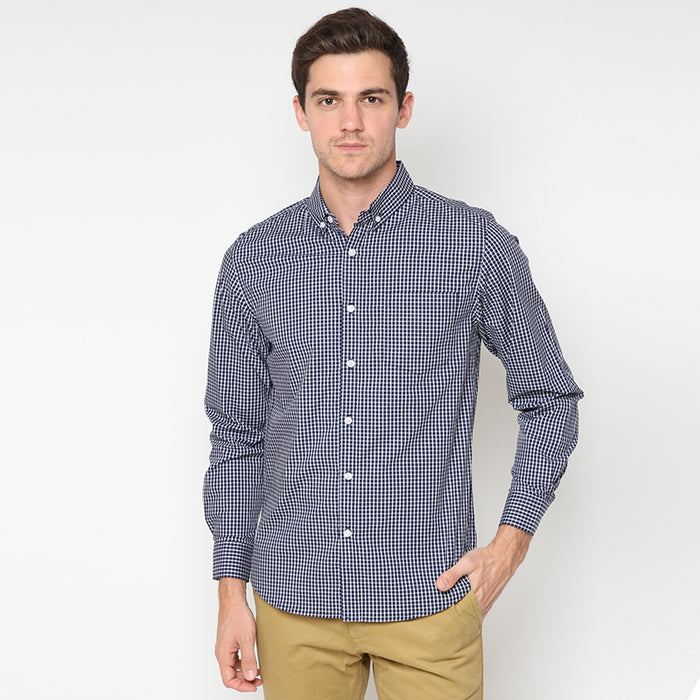 Gingham 019 L/S Shirt - Navy