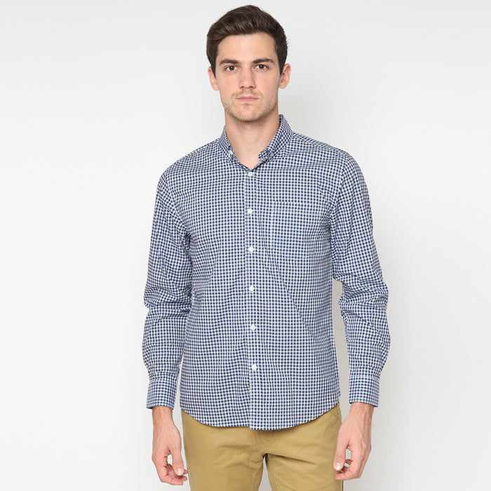 Gingham 020 L/S Shirt - Blue