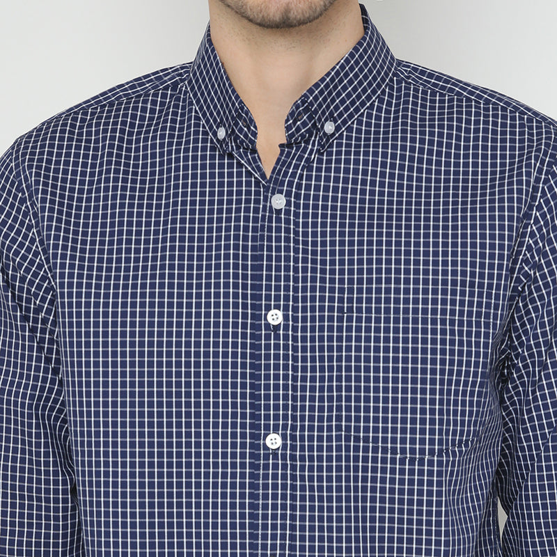 Gingham 021 L/S Shirt - Navy