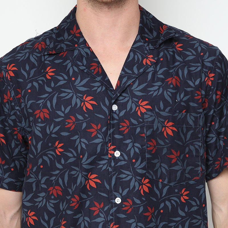 Relaxed Leaf 02 S/S Shirt -Navy