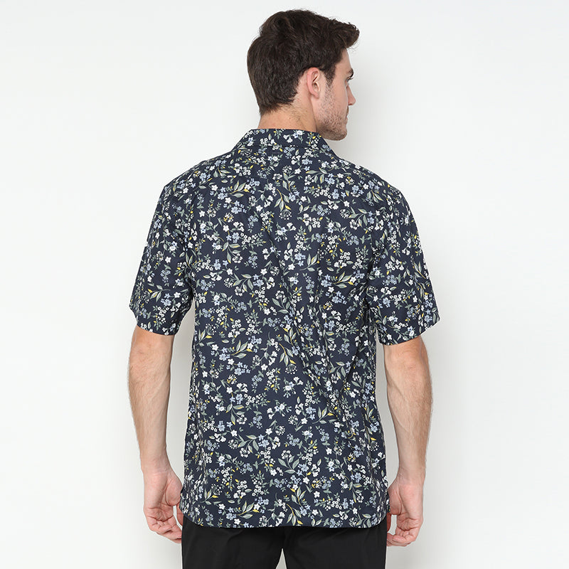Relaxed Floral 02 S/S Shirt - Navy