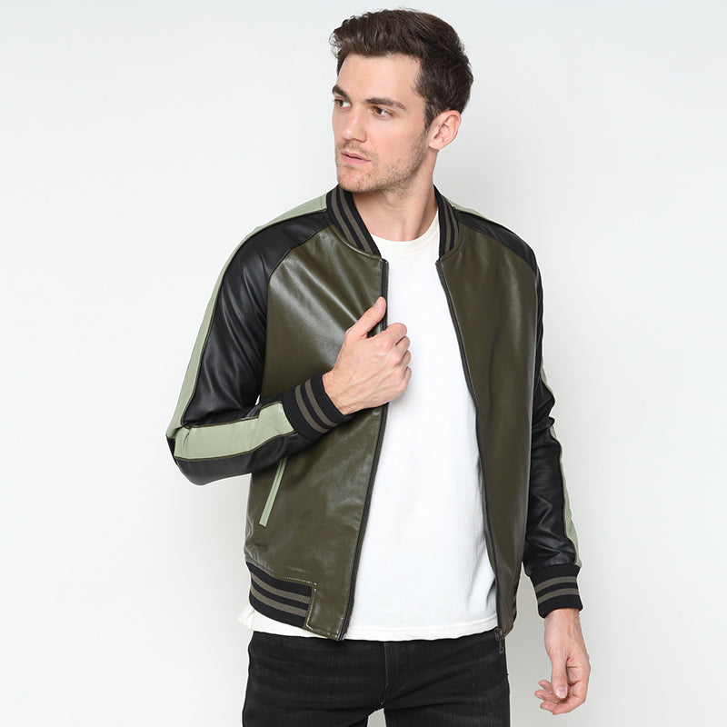 Leather Bomber Jacket - Green