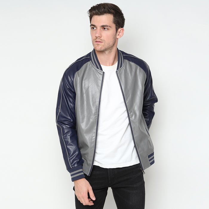 Leather Bomber Jacket - Grey