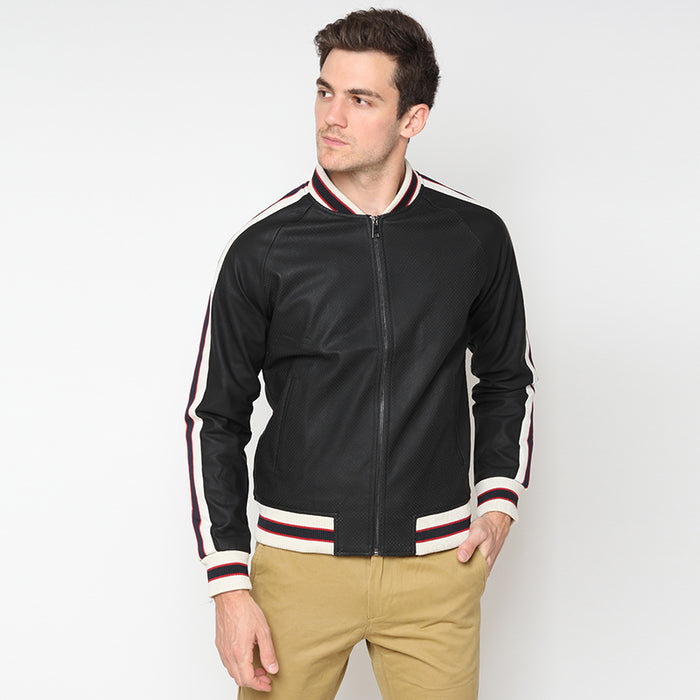 Leather Perforated Bomber - Black