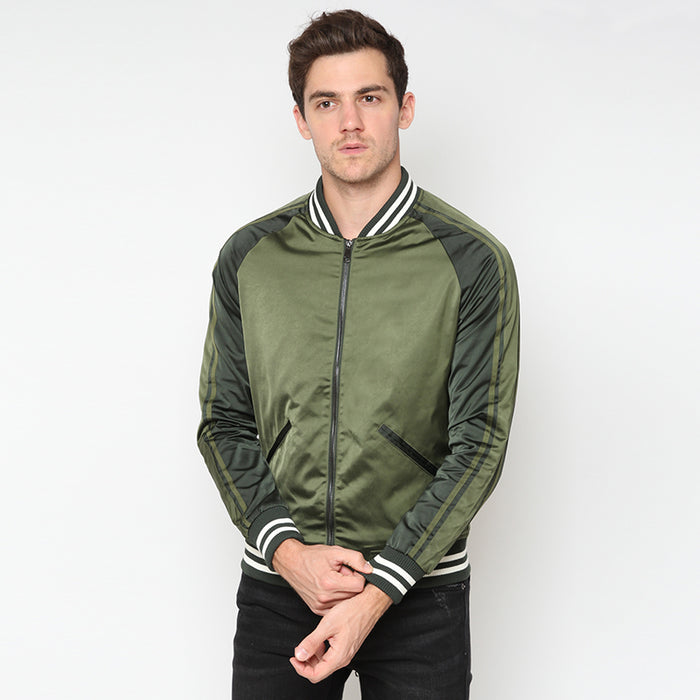 Satin Varsity Jacket - Green