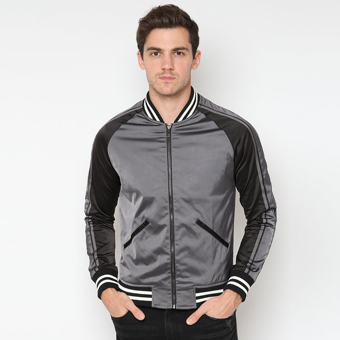 Satin Varsity Jacket - Grey