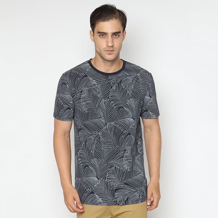 Palm Leaf S/S Tee - Navy