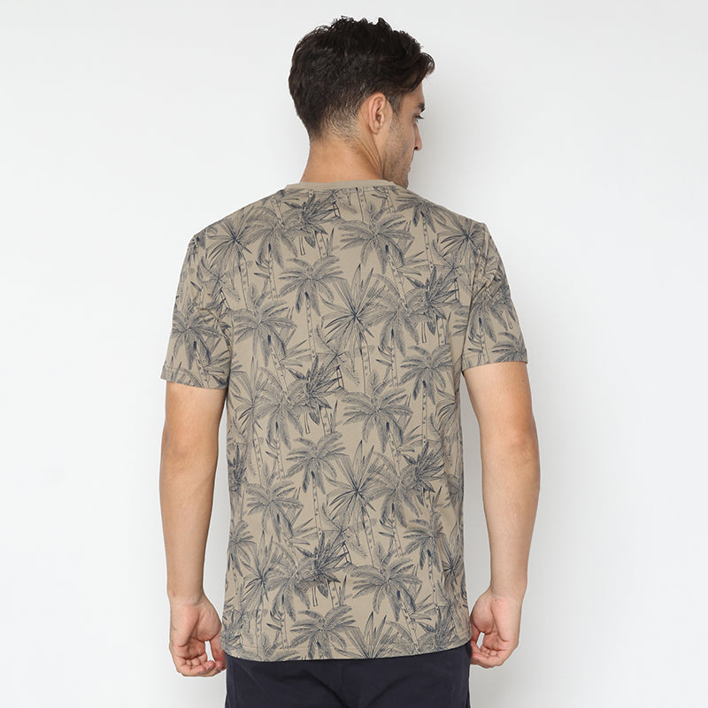 Palm Print S/S Tee - Brown