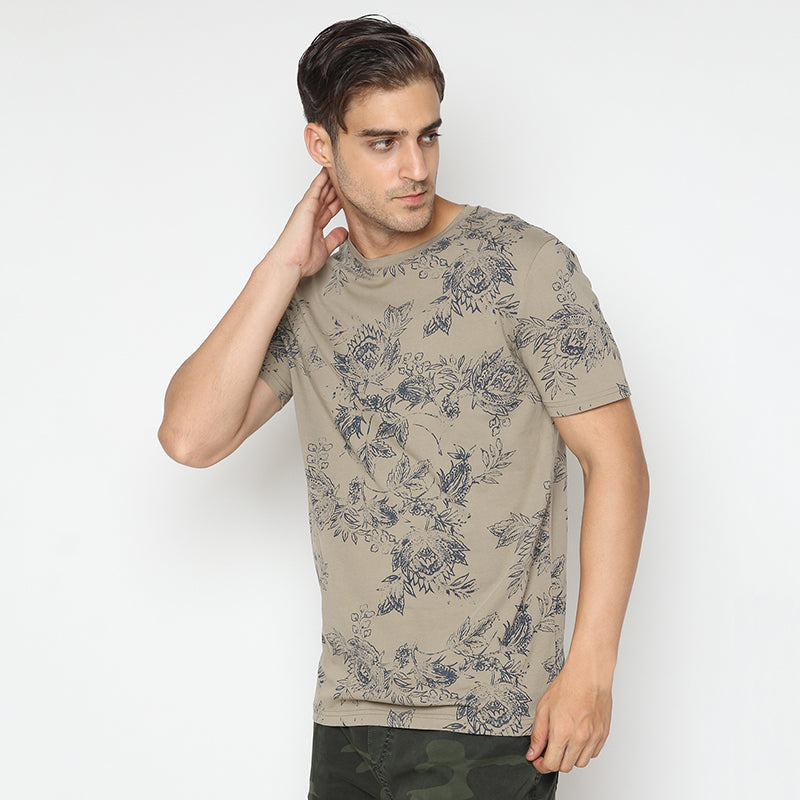 Leaf Print 08 S/S Tee - Brown