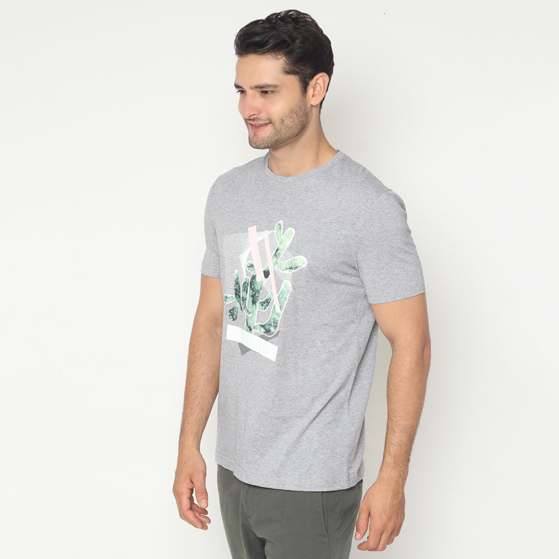 Cactus Abstract S/S Tee - Grey