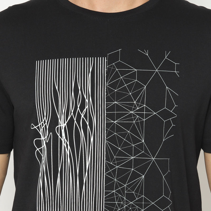 Abstract Geometric S/S Tee - Black