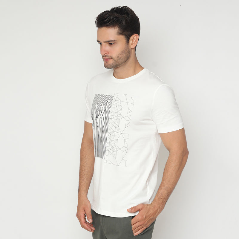 Abstract Geometric S/S Tee - White