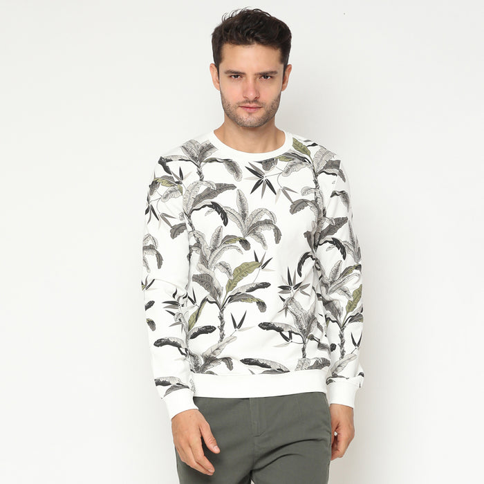 Leaf Print 03 Sweatshirt - White