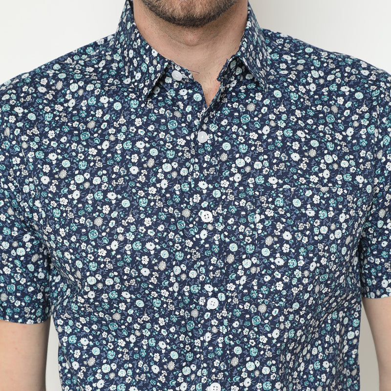 Floral Print 21 S/S Shirt - Navy