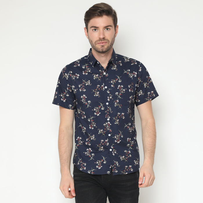 Floral 05 S/S Shirt - Navy