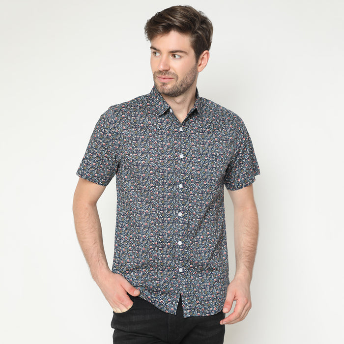 Floral Print 22 S/S Shirt - Navy