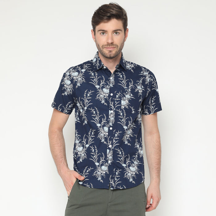 Floral 06 S/S Shirt - Navy