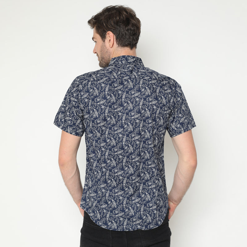 Floral Print 20 S/S Shirt - Navy