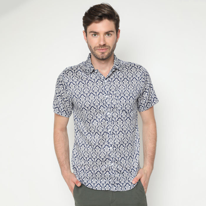 Pattern Print 09 S/S Shirt - Navy