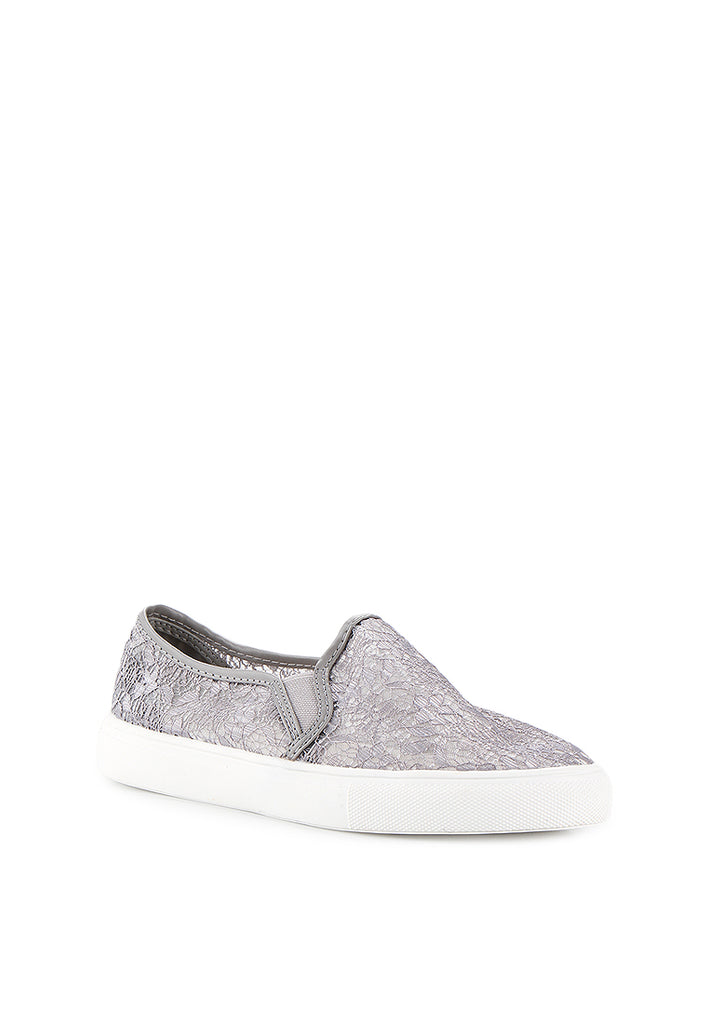 Woman Lace Slip-On - Grey