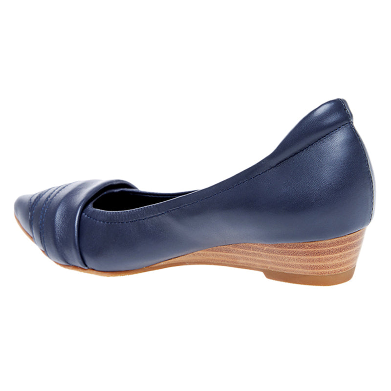 Woman Mila Leather Wedges - Blue