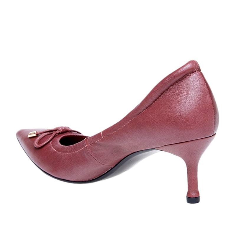 Woman Sylvia Leather Heels - Red