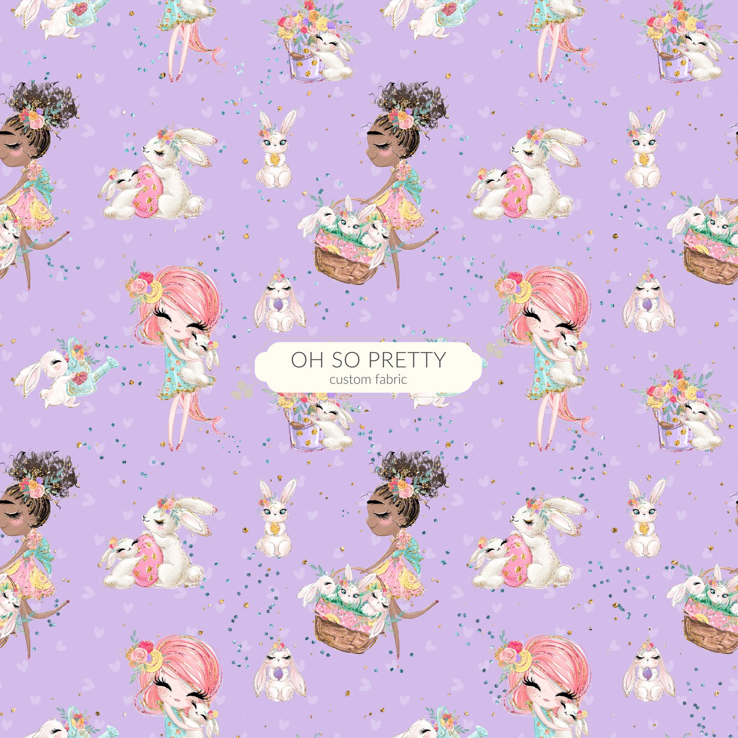 Retail Easter Bunnies Girls on purple