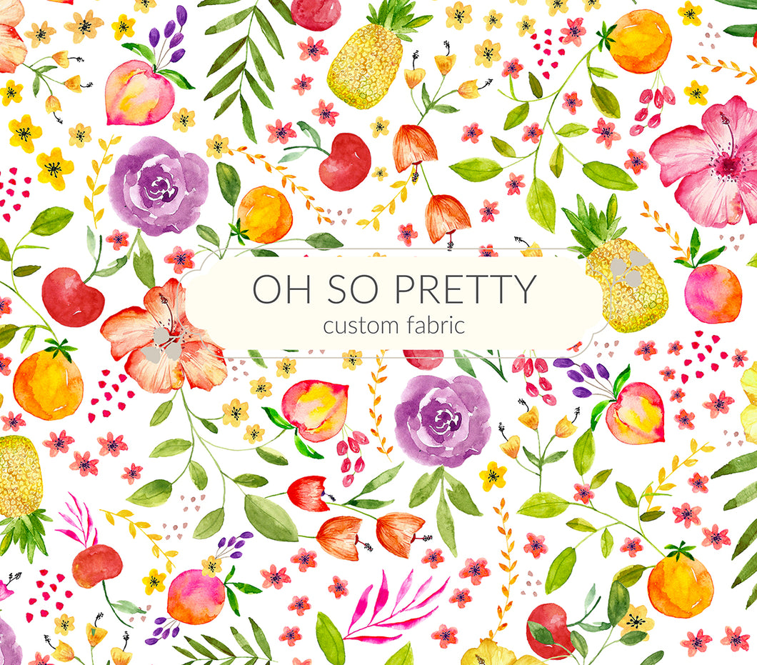 Retail Pineapples And Summer Flowers Oh So Pretty Custom Fabric