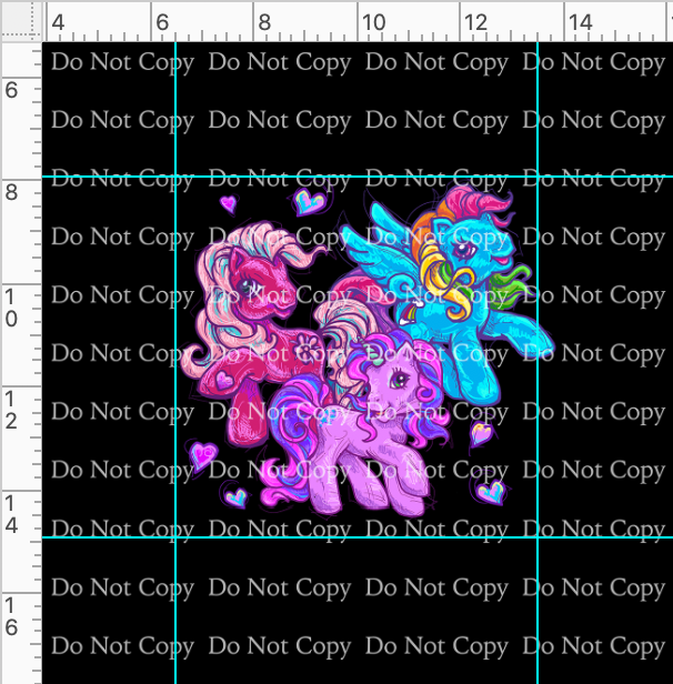 CATALOG - PREORDER R43 - 80s Throwback - Ponies - Panel - Black