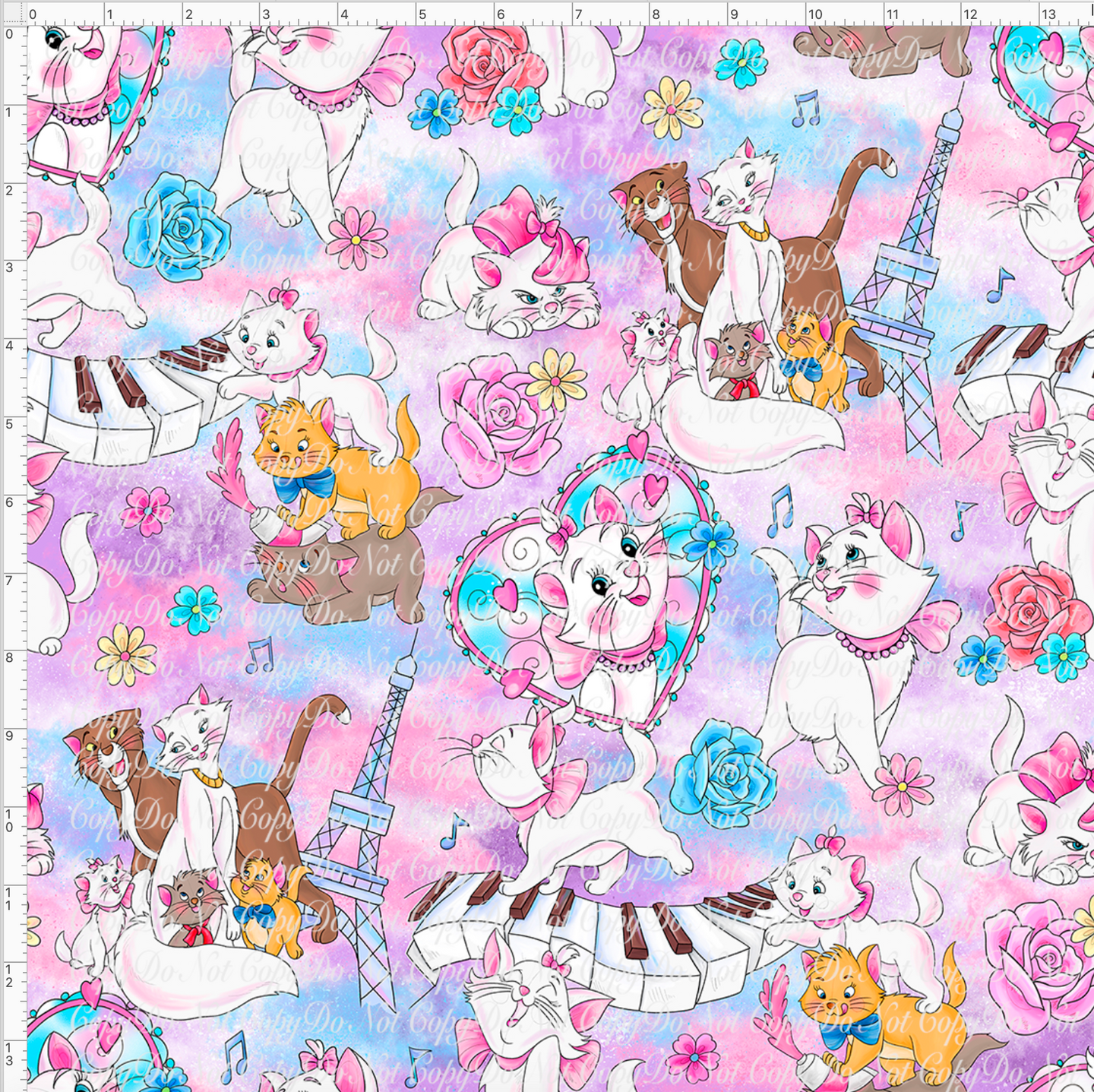 CATALOG PREORDER R38 - Pastel Cats  - Tossed (14x14) Large Scale