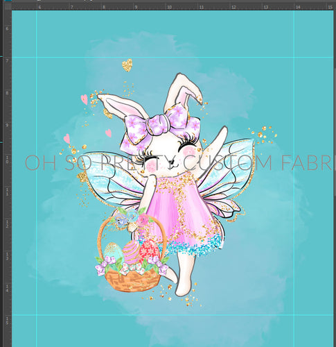 Retail Easter Fairies bunny on turquoise panel
