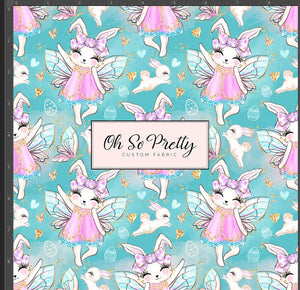 Retail Easter Fairies bunny on turquoise